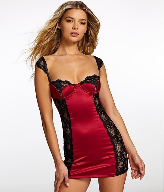 Frederick's of Hollywood: Lana Tulip Satin & Lace Chemise