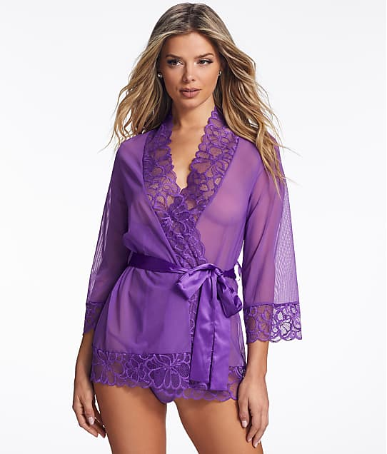 Frederick's of Hollywood Lara May Lace Robe Set in Tillandsia Purple X78-2282