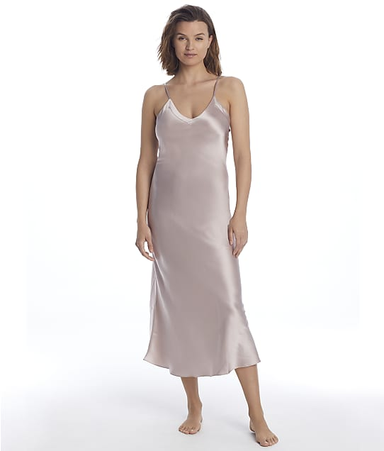 Ginia Silk Long Gown in Shadow Grey 9617