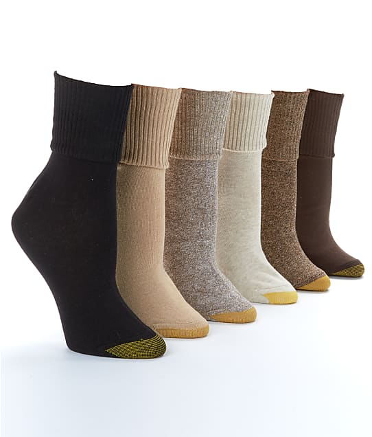 Gold Toe: Women's Turn Cuff Anklet Socks 6-Pack Extended Sizes
