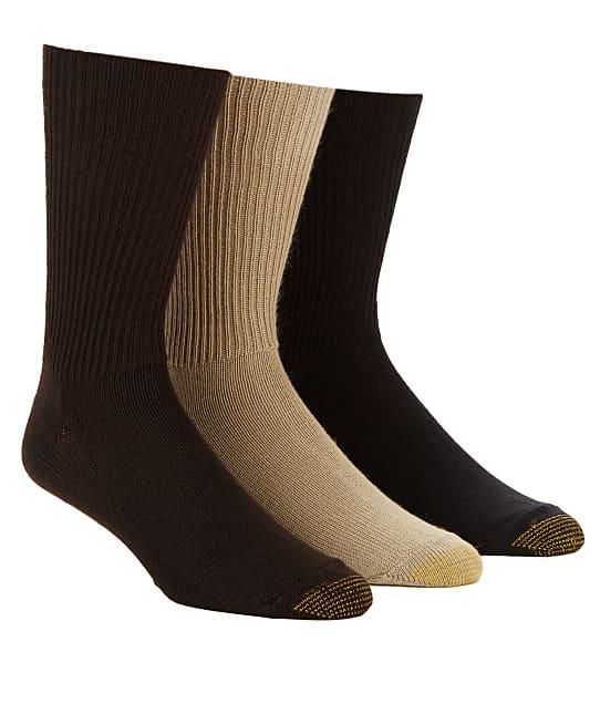 Gold Toe Fluffies Crew Socks 3-Pack in Khaki /Brown /Black 523S