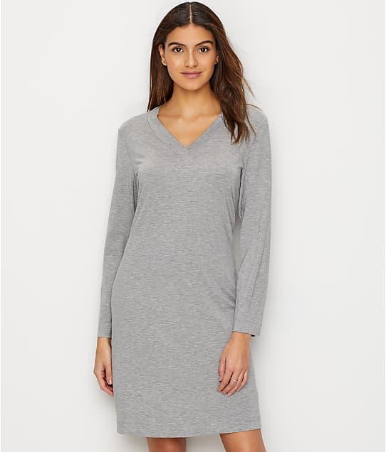 Hanro Champagne Knit Sleep Shirt in Grey Melange 76477