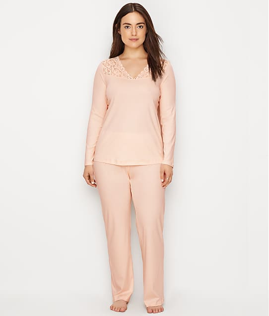 Hanro Moments Knit Pajama Set in Crystal Pink 77932