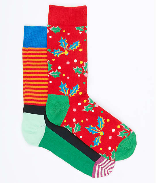Happy Socks: Holiday Cracker Holly Berry Crew Socks 2-Pack