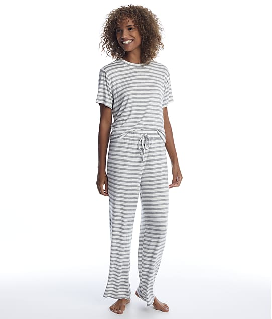 Honeydew Intimates Striped All American Knit Pajama Set in Ivory Stripe(Front Views) 33982-IVORY