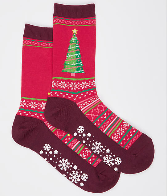 Hot Sox Christmas Tree Crew Socks in Red HOH00027