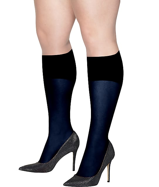 Hanes: Plus Size Curves Opaque Knee Highs