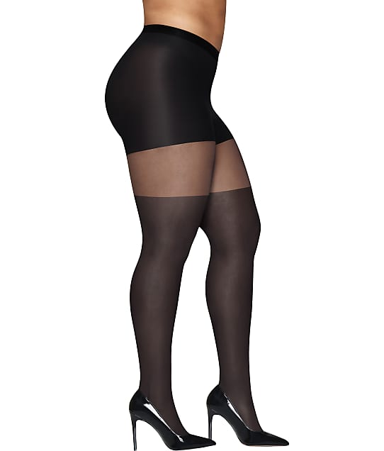Hanes Plus Size Curves Illusion Control Top Tights in Black HSP022