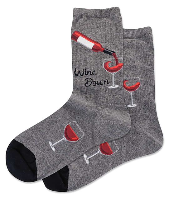 Hot Sox Wine Down Crew Socks in Charcoal HSW10240