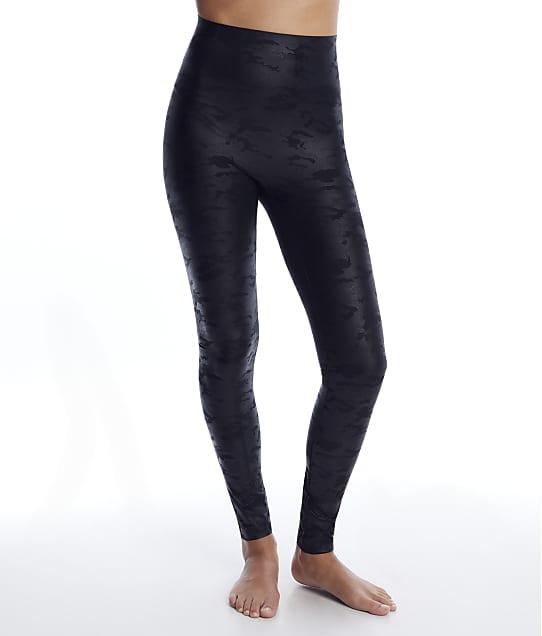 HUE Leatherette High-Waist Leggings in Black Camo(Front Views) U21402