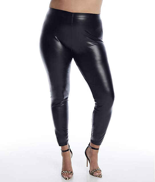 HUE Plus Size Leatherette Leggings in Black U21880X
