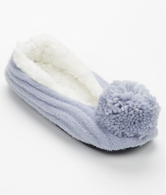 HUE: Pom-Pom Ribbed Slippers