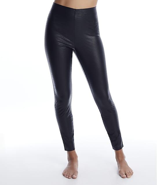 HUE Croco Leatherette High-Waist Leggings in Black(Front Views) U22165