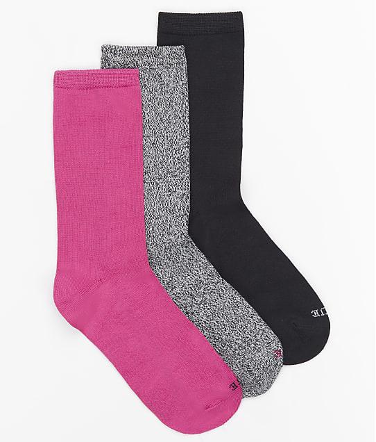 HUE Softy Crew Sock 3-Pack in Black Multi U22234