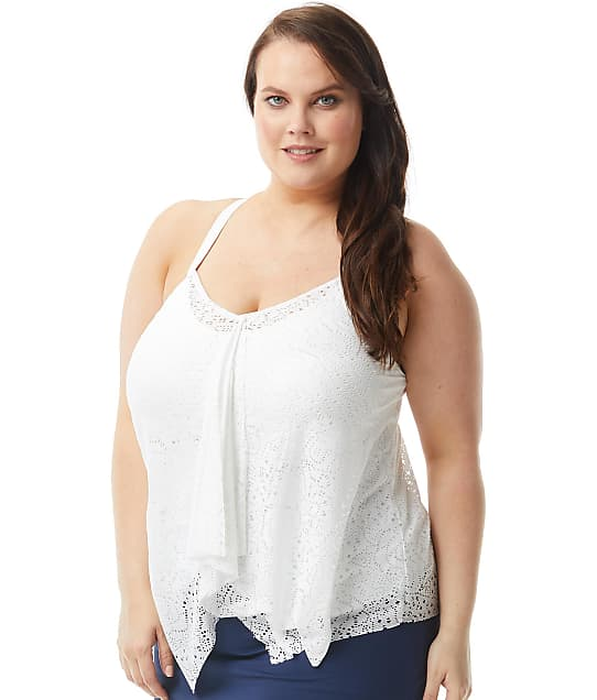 Beach House Plus Size Crochet Soleil Kerry Underwire Tankini Top in White(Front Views) HW65355
