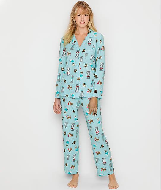 Karen Neuburger Girlfriend Knit Dog Pajama Set in Aqua RE0143M-AQUA