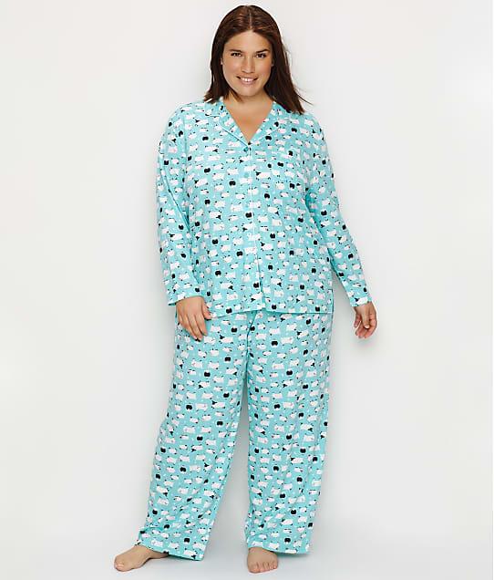 Karen Neuburger Plus Size Girlfriend Knit Sheep Pajama Set in Blue Sheep RE0143W-BSHP