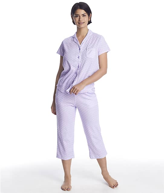 Karen Neuburger Plus Size Girlfriend Knit Cropped Pajama Set in Lavender Foulard(Front Views) RE0275W