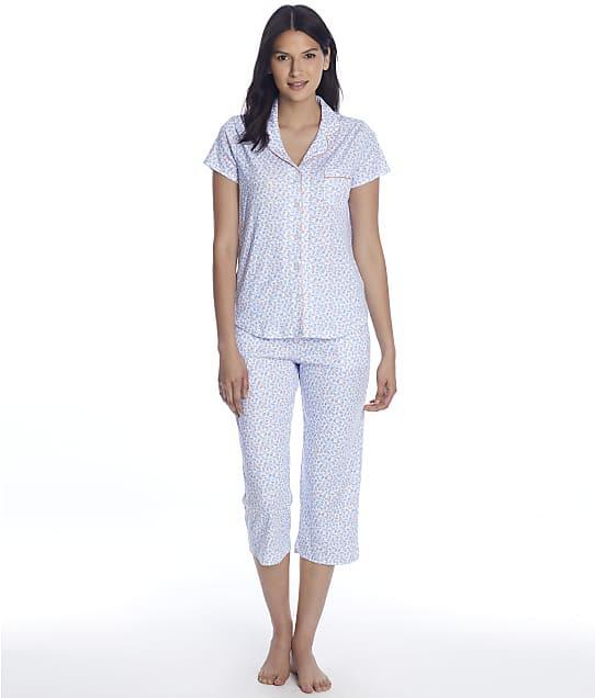 Karen Neuburger Girlfriend Knit Cropped Pajama Set in Nueva Ditsy(Front Views) RE0275M