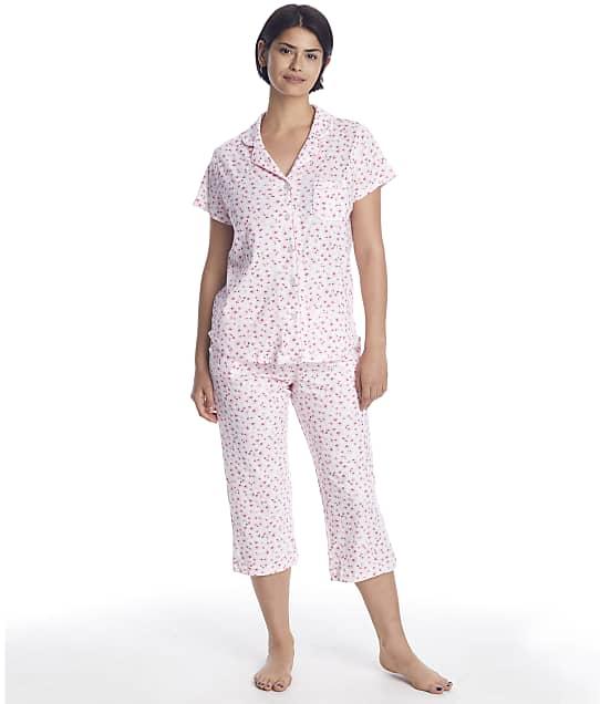 Karen Neuburger Floral Knit Cropped Pajama Set in Pinky Promise Ditsy RE0317M