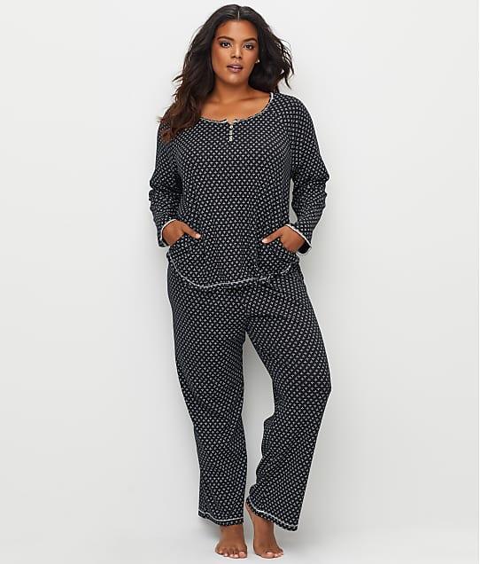 Karen Neuburger: Plus Size Leaf Print Knit Pajama Set