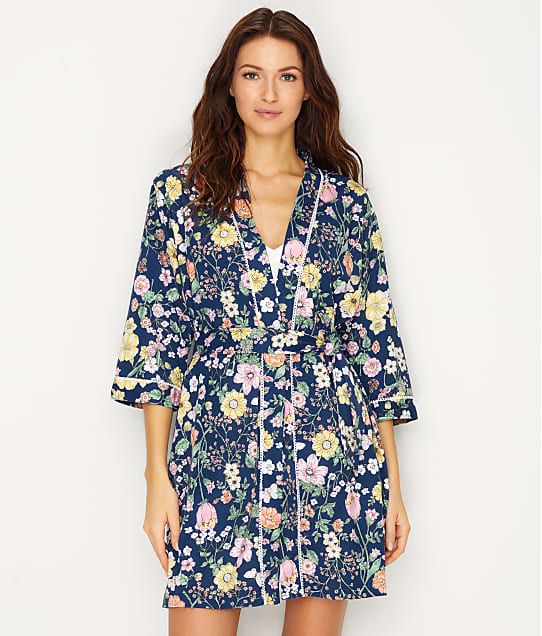 Karen Neuburger Floral Knit Robe in Floral Navy RM0100M