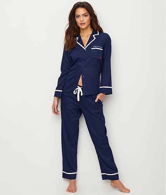 kate spade new york Sateen Woven Pajama Set in French Navy 5091413