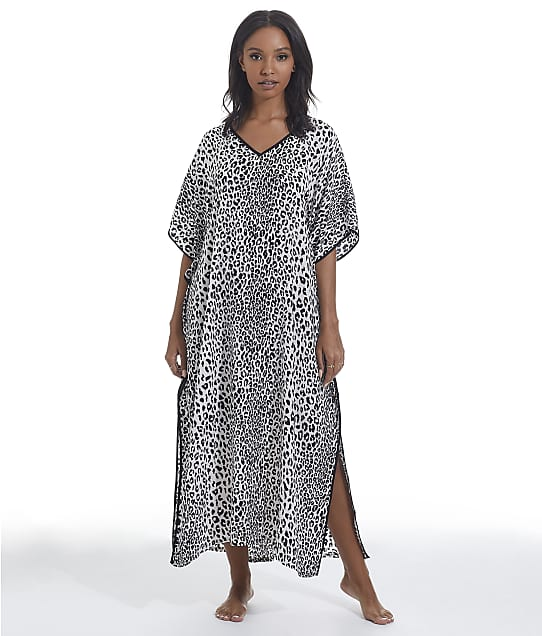 kate spade new york White Floral Charmeuse Sleep Caftan in Leopard Spots(Front Views) KS72150