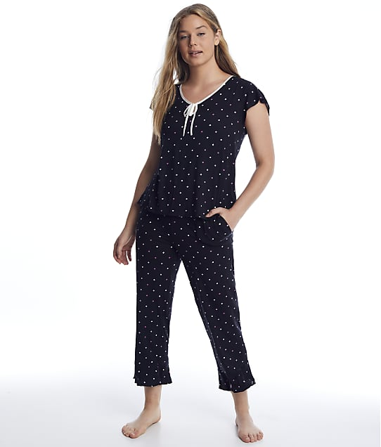 kate spade new york: Black Dot Modal Cropped Pajama Set