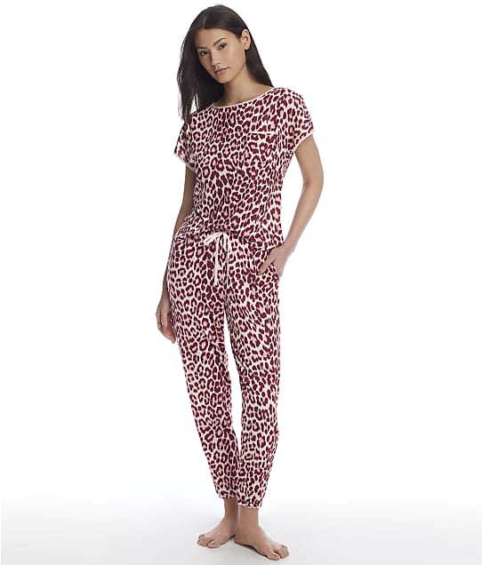 kate spade new york Leopard Knit Jogger Pajama Set in Classic Leopard(Front Views) KS82159