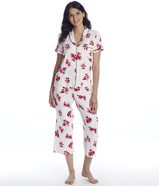 kate spade new york Pink Floral Modal Knit Cropped Pajama Set in Pink Floral KS92151