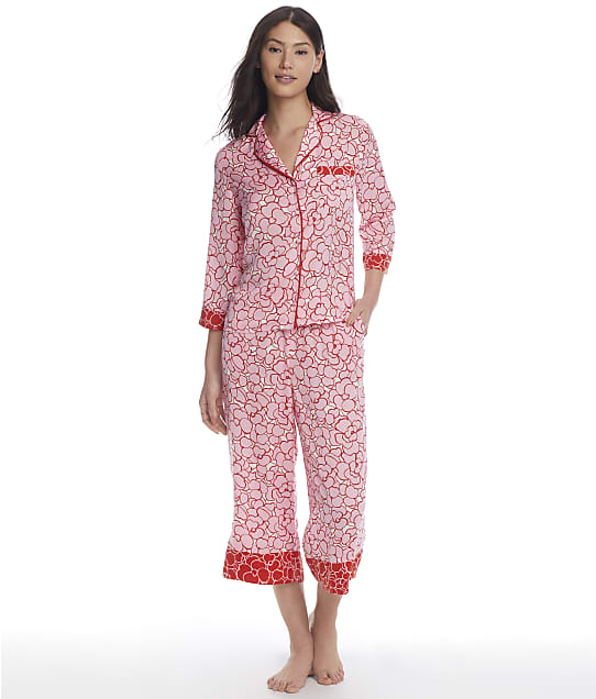 kate spade new york Pansy Cropped Charmeuse Pajama Set in Pansy Pop Inverse KS92157