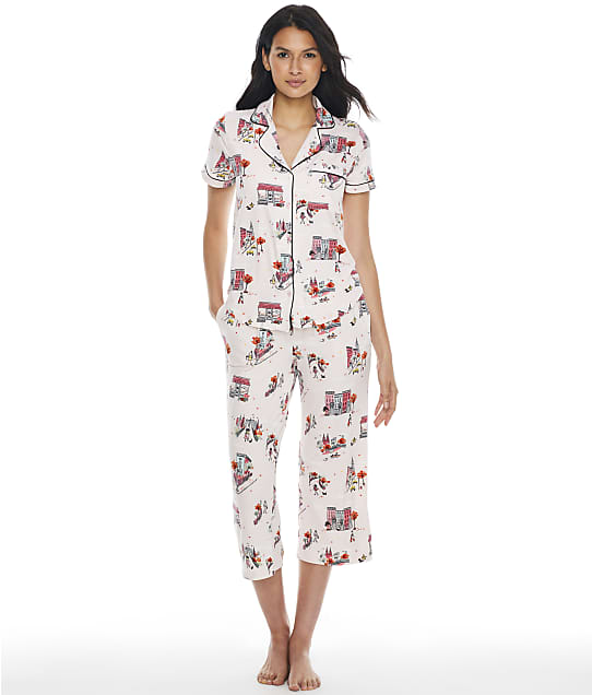 kate spade new york Printed Knit Cropped Pajama Set in Fall In The City KS92200