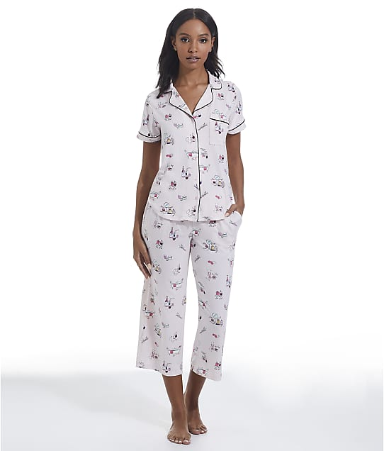 kate spade new york Printed Knit Cropped Pajama Set in Out Of Office(Front Views) KS92200