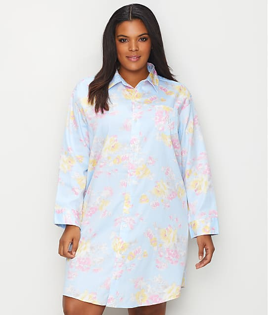 Lauren Ralph Lauren: Plus Size Floral Woven Sleep Shirt