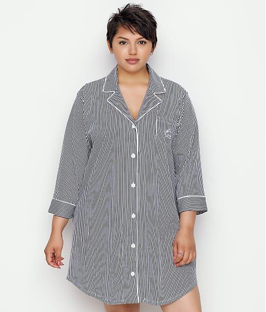 Lauren Ralph Lauren Plus Size Further Lane Woven His Shirt in Black Stripe 813702X