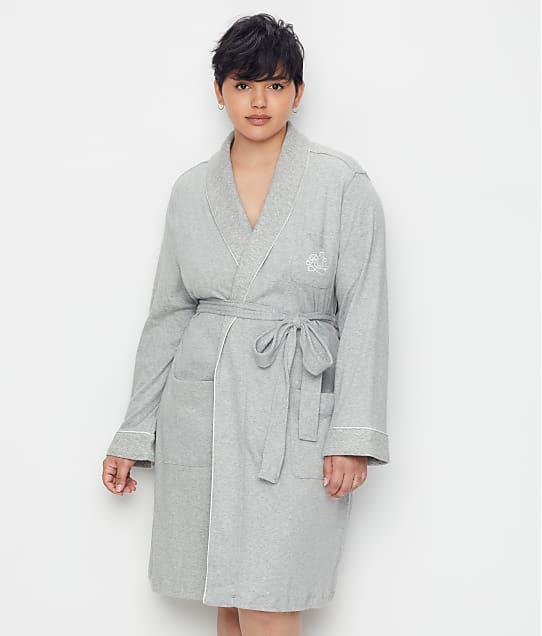 Lauren Ralph Lauren Plus Size Hartford Lounge Shawl Collar Knit Robe in Heather Grey(Front Views) 814193X