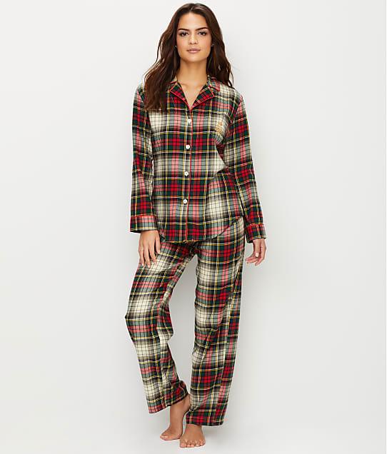 Lauren Ralph Lauren Classic Flannel Pajama Set in Ivory Plaid 8191432F