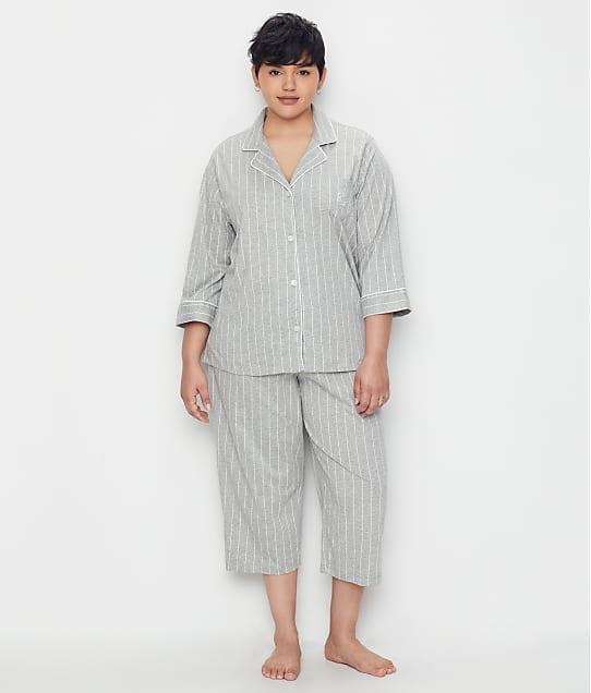 Lauren Ralph Lauren Plus Size Heritage Essential Knit Capri Pajama Set  in Grey Stripe(Front Views) 819702X