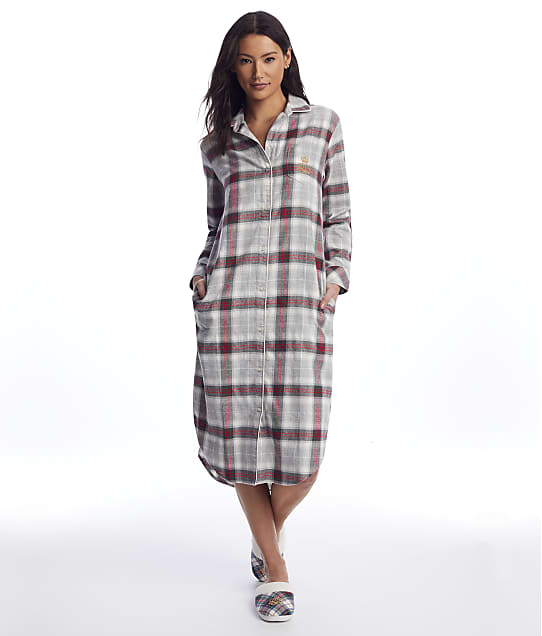 Lauren Ralph Lauren: Grey Plaid Brushed Twill Maxi Sleep Shirt