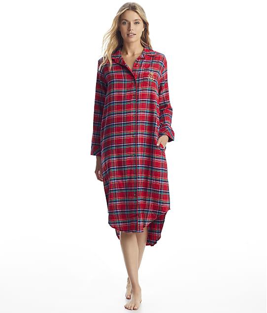 Lauren Ralph Lauren: Red Plaid Brushed Twill Maxi Sleep Shirt