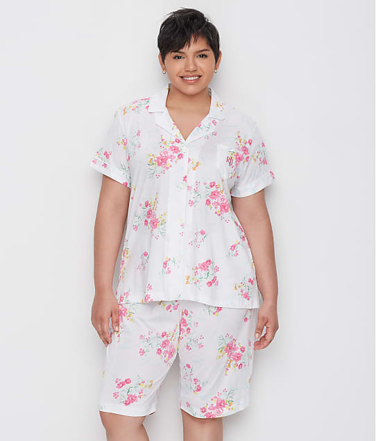 Lauren Ralph Lauren Plus Size Floral Knit Bermuda Pajama Set in Pink Floral LN11803X
