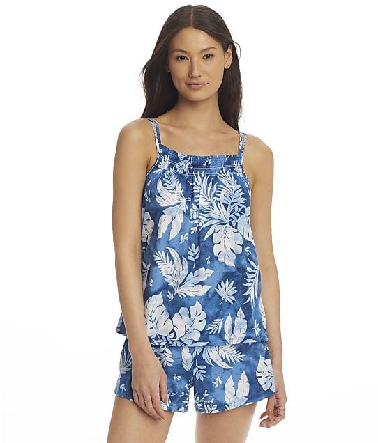 Lauren Ralph Lauren Double Strap Cami Knit Pajama Set in Blue Floral(Front Views) LN12087