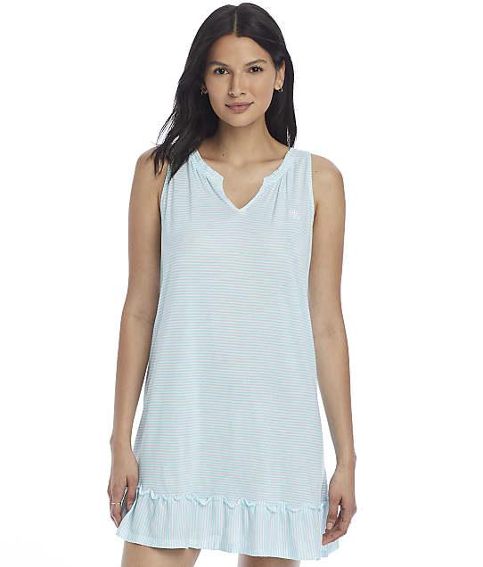 Lauren Ralph Lauren Sleeveless Flounce Knit Short Gown in Turquoise Stripe(Front Views) LN22081