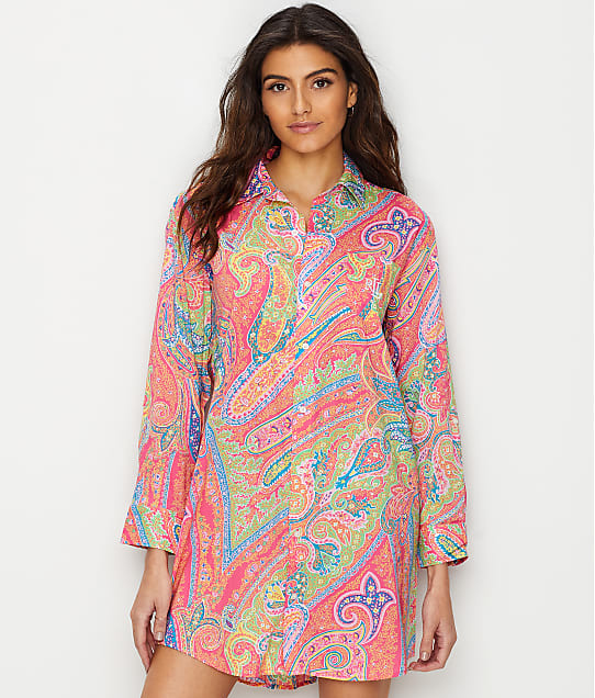 Lauren Ralph Lauren: Roll Tab Woven Sleep Shirt