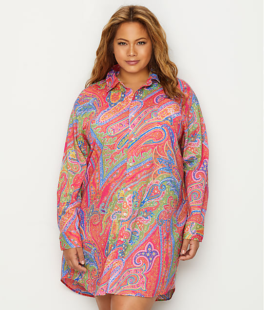 Lauren Ralph Lauren: Plus Size Roll Tab Woven Sleep Shirt