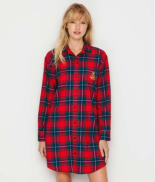 Lauren Ralph Lauren Brushed Twill Sleep Shirt in Red Plaid LN31749-RDP