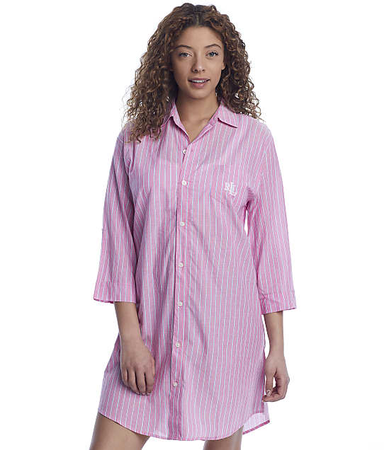 Lauren Ralph Lauren Woven Roll Tab Sleep Shirt in Pink Stripe LN32055