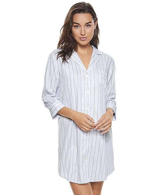 Lauren Ralph Lauren Blue Stripe Woven Sleepshirt in Blue Stripe(Front Views) LN32102