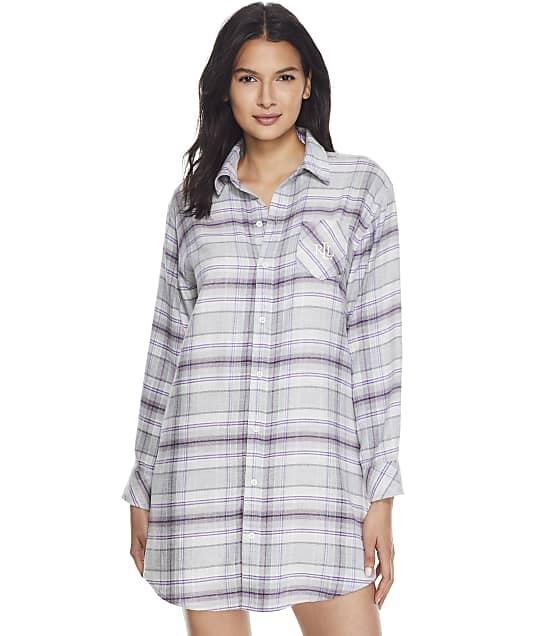 Lauren Ralph Lauren His Shirt Flannel Sleep Shirt in Grey Plaid LN32113